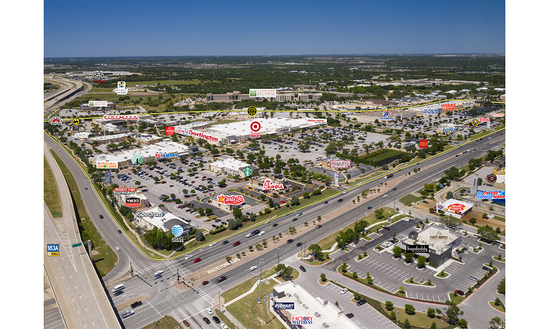 Endeavor Real Estate Oblique Aerial of 1890 Ranch Shopping Center in Cedar Park, TX