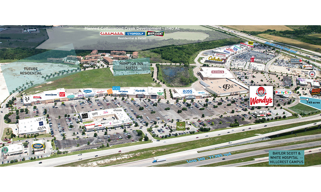 Oblique Aerial Facing North with Surrounding Retailer Logos and Future Developments