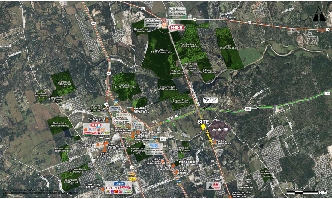 Endeavor Real Estate Group Ronald Reagan and FM 2243 Leander Vicinity Aerial