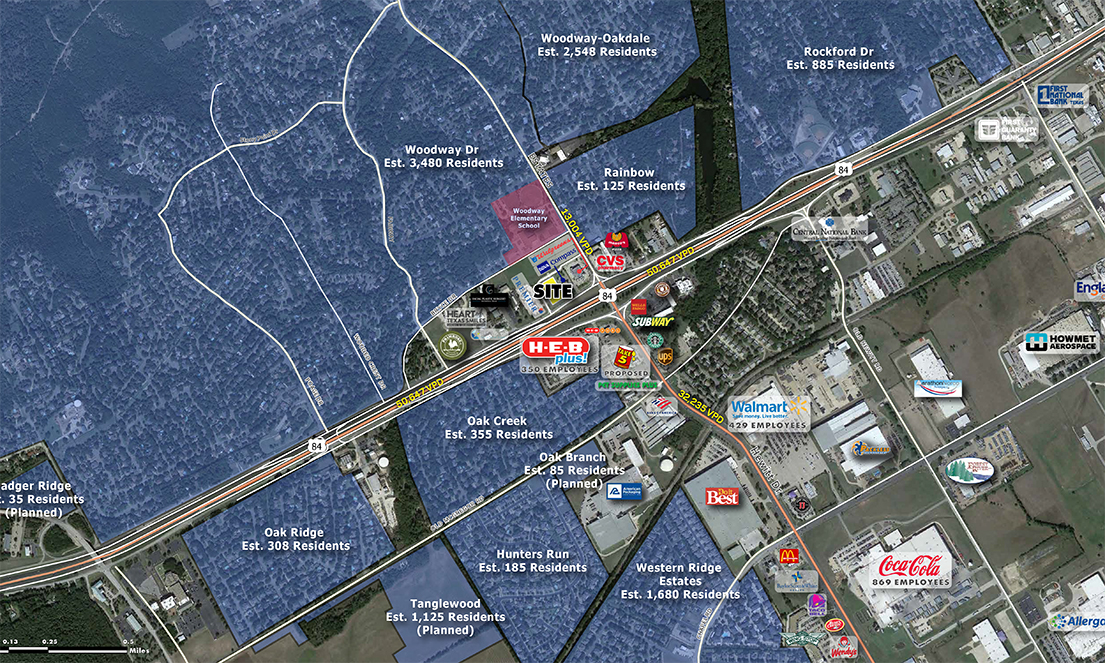 Pad Site NEC of HWY 84 and Jordan Lane Aerial : 1mi Vicinity with Selected Retailers