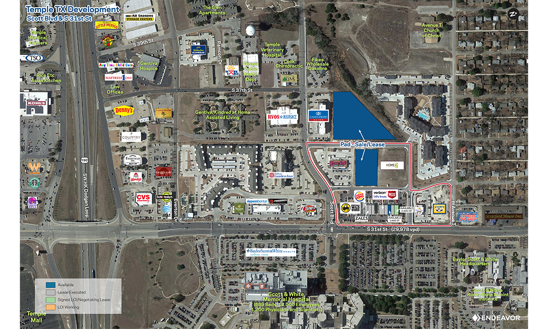 Endeavor Real Estate Group Retail Aerial of Temple Development in Austin, TX