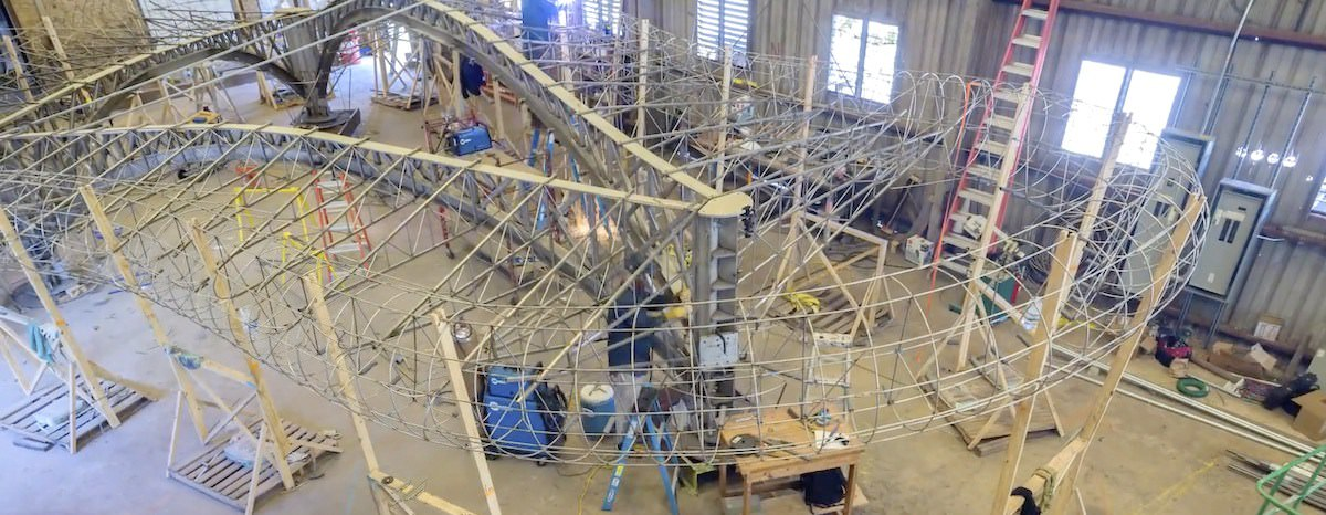 Flying Carpet Creative created a sculpture that will be unvelied Sept. 30 in the new Domain Northside development. - Courtesy Flying Carpet Creative