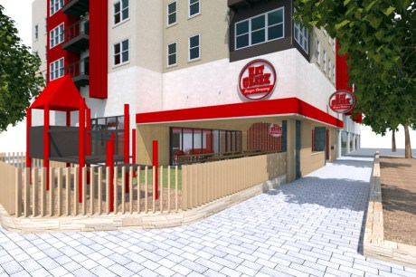 Hat Creek Burger Co. will open in December in the Rock Rose district at Domain Northside. - Rendering courtesy of Hat Creek Burger Co.