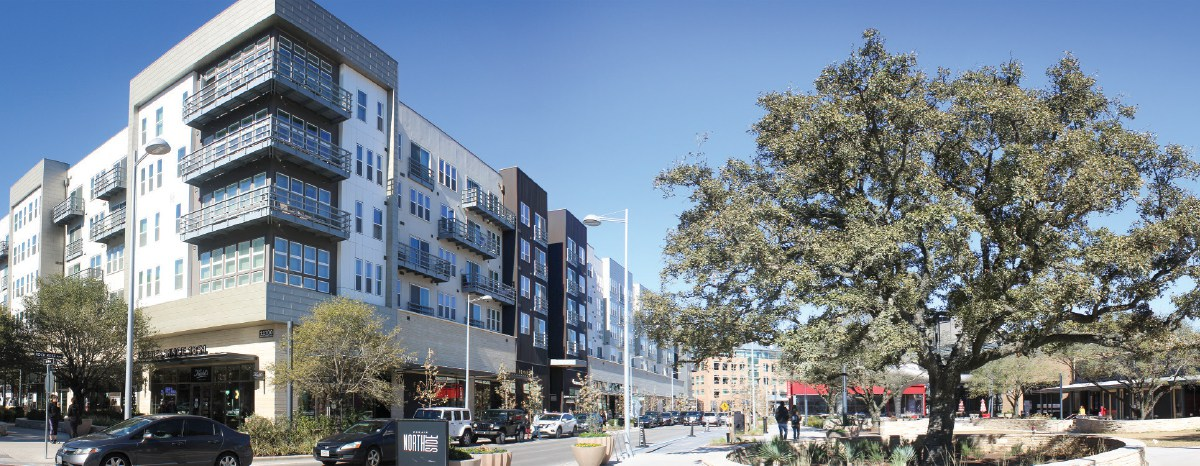 At the center of the new Domain NORTHSIDE shopping and dining development is the Northside Lawn.