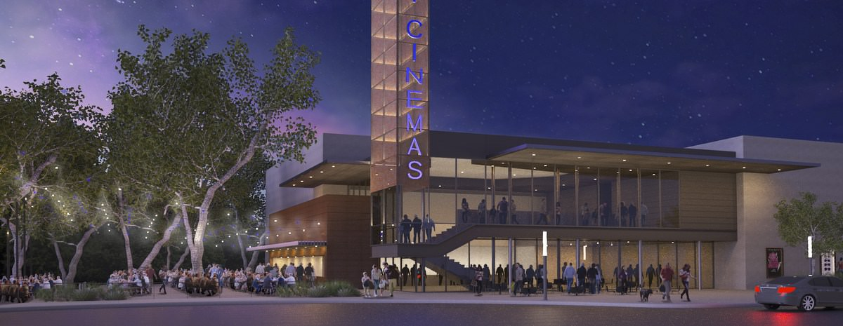 Creators of Violet Crown Cinema to Open Sky Cinemas in Belterra Village  |  Rendering courtesy Douglas Payne, AIA/Domiteaux   Baggett Architects